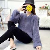 秋季2018新款韓版寬鬆慵懶風套頭針織衫長袖毛衣女