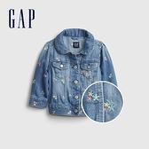 Gap嬰兒 純棉花卉刺繡牛仔外套 669592-中度水洗