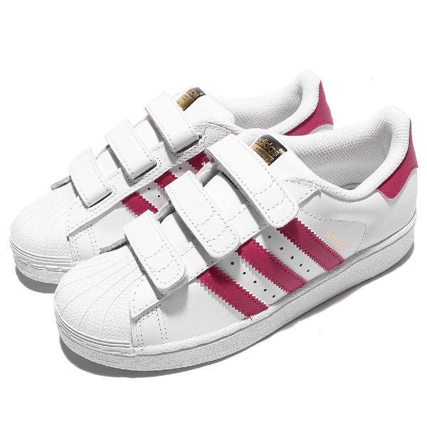 adidas 休閒鞋 Superstar Foundation CF C 白 粉紅 魔鬼氈 基本款 中童鞋 小朋友【PUMP306】 B23665