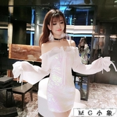 MG 夜店長裙-時尚性感綁帶雪紡露肩修身連身裙