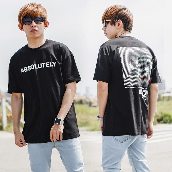T恤 ABSOLUTELY落肩寬版文字短T【NB0802J】