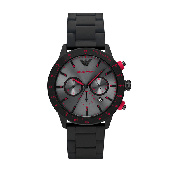 EMPORIO ARMANI 決勝時刻三眼計時腕錶-灰黑