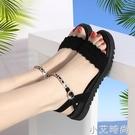 平底涼鞋女夏足意爾康百搭2021新款水鑚軟底孕婦鞋羅馬沙灘仙女鞋 小艾新品