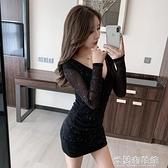 夜店洋裝 秋裝年新款女顯瘦修身性感夜店短裙子氣質收腰緊身包臀連衣裙 快速出貨