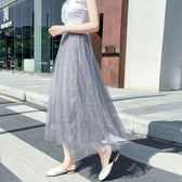 長裙 素色 珠珠 網紗裙 簡約 蓬蓬裙 飄逸 條紋 長裙【HA393】 ENTER  05/09