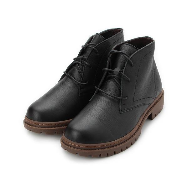 TANGO 真皮綁帶低跟短筒靴 黑 2607 女鞋 鞋全家福
