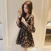 中袖洋裝 小個子洋裝雪紡新款韓版夏季喇叭袖中袖很仙的法國小眾裙子 檸檬衣舍