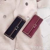 錢包女長款韓版學生簡約復古搭扣大容量手機皮夾  ◣怦然心動◥