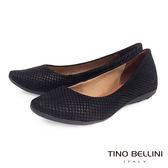 Tino Bellini 巴西進口立體壓紋真皮舒適平底娃娃鞋_黑 VI1205B 歐洲進口款