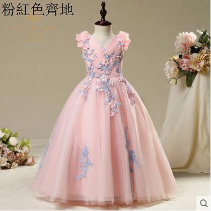 熊孩子☃公主裙女童晚禮服兒童婚紗裙粉色(主圖款2)粉紅色齊地