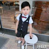 男童夏款禮服套裝2019新款韓版寶寶短袖中小兒童帥氣六一表演服裝xy1391【艾菲爾女王】