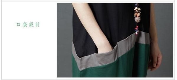 漂亮小媽咪 文藝棉麻洋裝 【D9215】 復古 棉麻 清新田園 時尚 撞色 短袖洋裝 薄款 孕婦裝