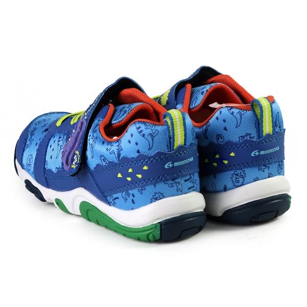 日本月星 MoonStar CARROT 速乾 動物腳印公園鞋 機能童鞋 中童鞋 恐龍 藍色 NO.R6341