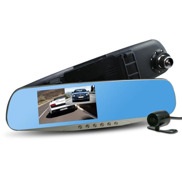行走天下 CR05 雙鏡頭後視鏡行車記錄器-加16G記憶卡