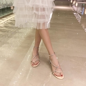 高跟涼鞋夏網紅一字扣帶羅馬涼鞋女粗跟仙女風水鉆露趾中跟高跟鞋特賣