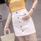 短裙2020夏裝新款韓版高腰修身單排扣牛仔短裙女百搭包臀裙a字半身裙 suger