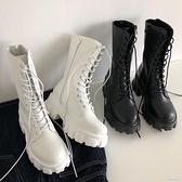 馬丁靴女2020夏季新款厚底增高系帶短靴百搭復古粗跟中筒機車靴子 【韓語空間】