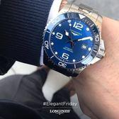 【送品牌禮物】 浪琴 深海征服者浪鬼陶瓷潛水機械錶L37826966藍43mm