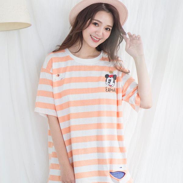 寬鬆百搭條紋卡通圓領T-shirt(4色)