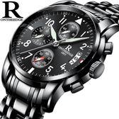 現貨清倉手錶男 男士手錶運動石英錶 防水時尚潮流夜光精鋼帶男錶機械腕錶10-17