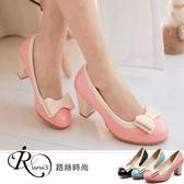 韓系小清新雙層蝴蝶結造型瑪莉珍高跟包鞋/3色/35-39碼 (RX0835-801) iRurus 路絲時尚