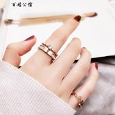 食指鈦鋼戒指女玫瑰金指環