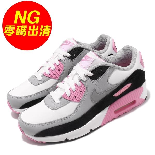 【US5.5-NG出清】Nike 休閒鞋 Air Max 90 LTR GS 白 粉紅 女鞋 大童鞋 二手使用痕跡 【ACS】