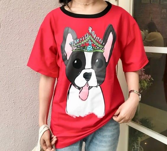 EASON SHOP(GU5114)皇冠狗狗頭汪星人紅黑撞色領圓領短袖T恤內搭衫女上衣素色白棉T長版長款韓版寬鬆