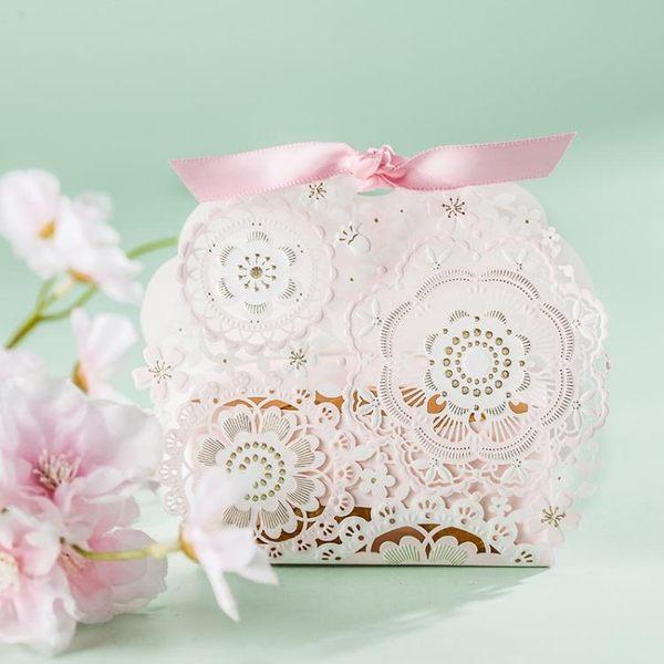 新年好禮 結婚禮糖盒喜糖盒 粉色歐式蕾絲創意婚慶喜糖盒子2018