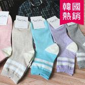 韓版 日系素色條紋長襪 粉色系 白色線條 長統襪 襪子