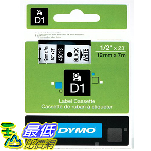 [美國直購] DYMO 45013 Labeling Tape 1/2 inch x 23 Black Print on White Tape D1 Label Cassette 標籤紙