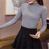 內搭衫打底衫女新款半高領修身抽條短款上衣長袖顯瘦針織打底衫秋冬MC001.1751皇潮天下
