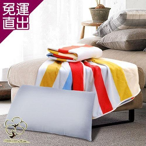 采棉居寢飾文化館 竹炭枕、條紋四季毯超值組