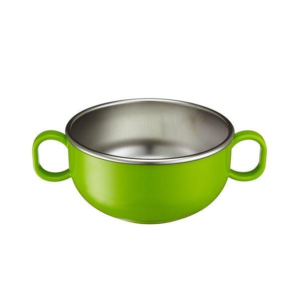 美國Innobaby 不銹鋼雙耳兒童餐碗-青蘋綠