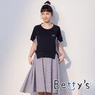 betty's貝蒂思 直條紋短袖前拼接洋裝(深藍)