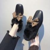 毛毛鞋女秋冬季百搭英倫風小皮鞋粗跟單鞋方頭豆豆鞋 歌莉婭