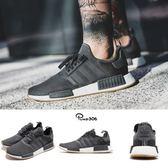adidas NMD_R1 灰 白 膠底 襪套式 休閒鞋 慢跑鞋 運動鞋 男鞋【PUMP306】 B42199