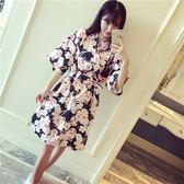 睡衣女夏季韓版清新性感日式和服純棉家居服