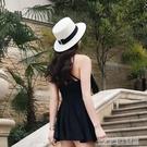 帽子女夏天出游沙灘帽海邊遮陽防曬太陽草帽平頂英倫小清新M禮帽
