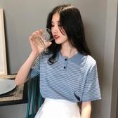 針織短袖 短袖t恤女春裝新款韓版寬鬆POLO衫百搭條紋針織學生體恤上衣 維多