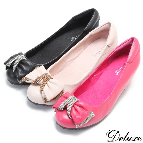 【Deluxe】全真皮俏皮抓皺鑲鑽蝴蝶結包頭楔型鞋(黑☆桃☆粉)