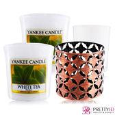 YANKEE CANDLE香氛蠟燭-白茶 White Tea(49g)X2+祈禱燭放置器[摩洛哥銅]【美麗購】
