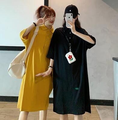 M-4XK胖妹大碼洋裝連身裙~POLO領字母印花寬松顯瘦長款T連身裙 9079.4F098B莎菲娜