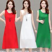 洋裝—無袖雪紡連身裙女中長款夏季新款打底背心吊帶外穿過膝長裙子 kore時尚記