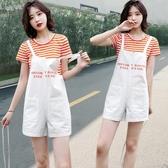 小清新背帶短褲女套裝夏季學生韓版寬鬆顯瘦可愛減齡連體褲兩件套