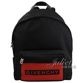 茱麗葉精品【全新現貨】Givenchy 紀梵希 品牌LOGO造型尼龍休閒後背包.黑