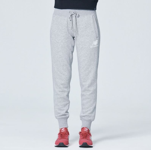 NEW BALANCE Lifestyle 女款灰色針織刷毛束口長褲-NO.AWP83522AG