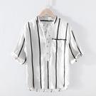 極麻條紋立領五分中袖亞麻T恤男士休夏季大碼寬鬆半袖棉麻汗衫 快速出貨