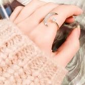 戒指 現貨 韓國氣質甜美百搭微鑲夢幻月亮點點鋯石開口戒指 S5226 批發價 Danica 韓系飾品