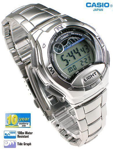 CASIO卡西歐W-753D-1A電子錶 不銹鋼 潮汐月相 鬧鈴 碼錶 日期 夜光 照明 男錶 時間玩家 40mm W-753D-1A